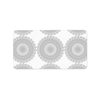 Gray Lace Design Pattern. Label