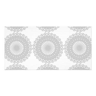 Gray Lace Design Pattern. Photo Card