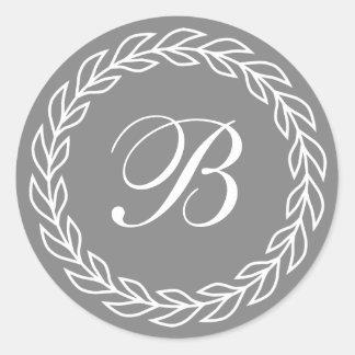 Gray Laurel Wreath with Custom Monogram Round Sticker