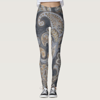 Gray Leggings Paisley Design