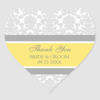 Gray Lemon Damask Thank You Wedding Favor Tags