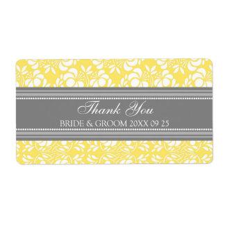 Gray Lemon Damask Wedding Labels