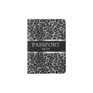 Gray Leopard Animal Print | Monogram Passport Holder