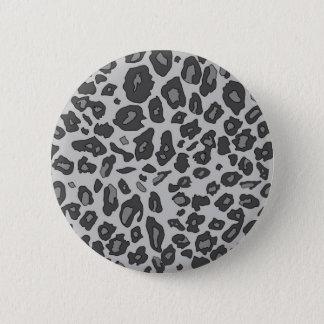 Gray leopard print 6 cm round badge