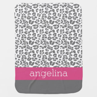Gray Leopard Print Pattern with Pink Name Baby Blanket