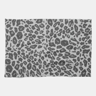 Gray leopard print tea towel