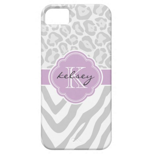 Gray & Lilac Animal Print Custom Monogram iPhone 5 Case
