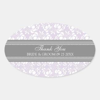 Gray Lilac Damask Thank You Wedding Favor Tags