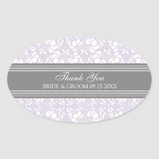 Gray Lilac Damask Thank You Wedding Favor Tags Oval Sticker