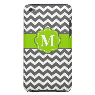 Gray Lime Green Chevron Monogram iPod Case