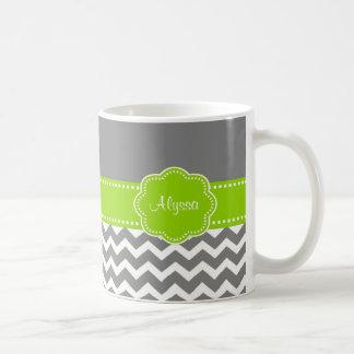 Gray Lime Green Chevron Personalized Mug