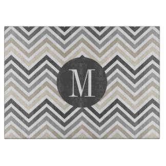 Gray & Linen Beige Chevron Pattern with Monogram Cutting Board