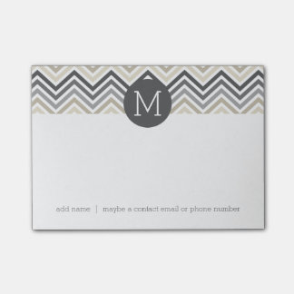 Gray & Linen Beige Chevron Pattern with Monogram Post-it Notes