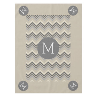 Gray & Linen Beige Chevron Pattern with Monogram Tablecloth