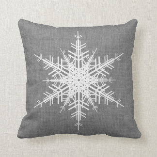Gray Linen Snowflake Holiday Cushion