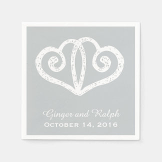 Gray Linked Hearts Wedding Engagement Napkins Paper Napkins