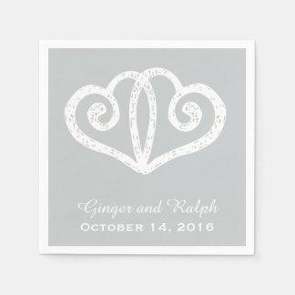 Gray Linked Hearts Wedding Engagement Napkins Paper Napkins