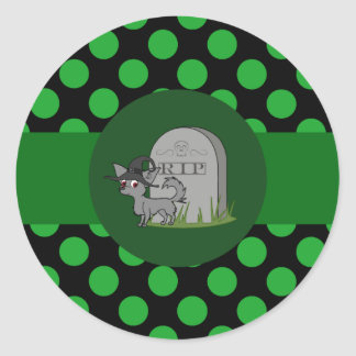 Gray Long Hair Chihuahua with Grave Stone & Dots Round Sticker