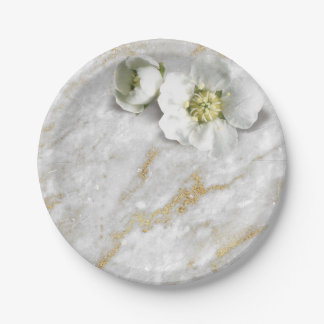 Gray Marble Stone Gold Glitter White Real Flower Paper Plate