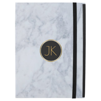 Gray Marble Touch Of Gold Custom Monogram