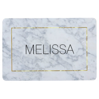 Gray Marble With Shiny Gold Frame Floor Mat
