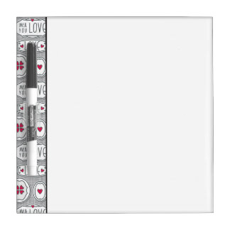 Gray me and you love Pattern Dry-Erase Whiteboard