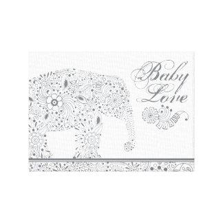 Gray Mehndi  Baby  Elephant Canvas Print