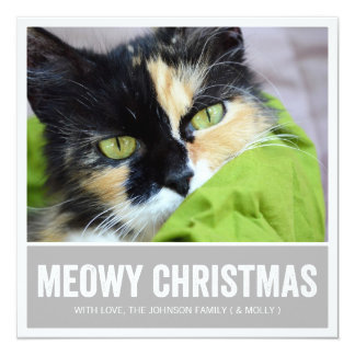 Gray Meowy Christmas - Pet Photo Holiday Cards Announcements