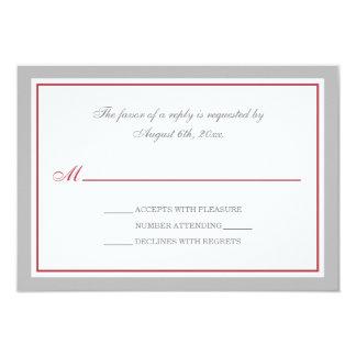 Gray & Merlot Red Wedding Reception RSVP Cards 9 Cm X 13 Cm Invitation Card