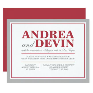 Gray & Merlot Wedding Reception ONLY Invitations