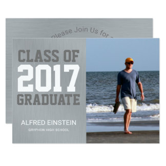 Gray Metal Class of 2017 | Photo Graduation Party Card