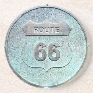 Gray Metal Route 66 Plaque Coaster