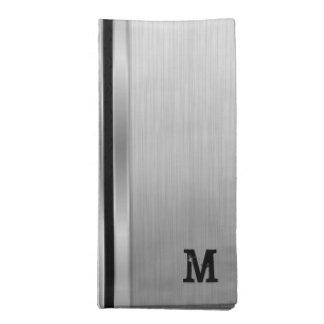 Gray Metallic Geometric Design Napkin