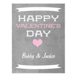 Gray Minimal Retro Valentine Postcard