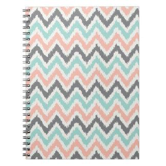 Gray Mint Coral Zigzag Ikat Pattern Notebooks