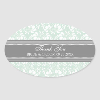 Gray Mint Damask Thank You Wedding Favor Tags Oval Sticker