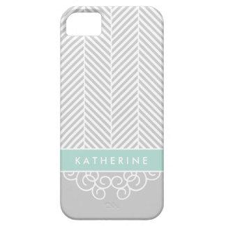 Gray & Mint Herringbone Swirl Custom Monogram Barely There iPhone 5 Case