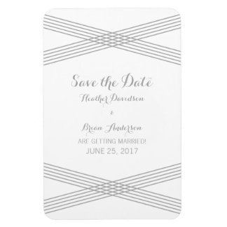 Gray Modern Deco Save the Date Magnet Rectangular Photo Magnet