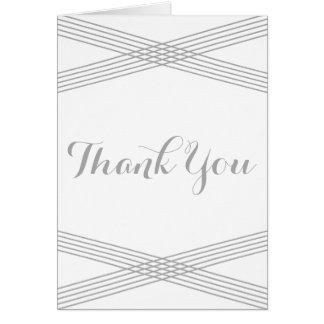 Gray Modern Deco Thank You Card Greeting Card