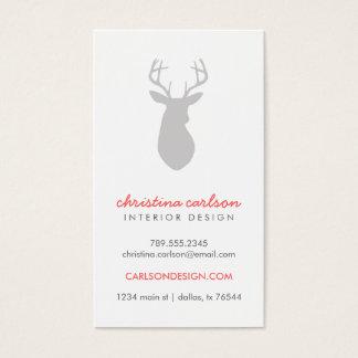 Gray Modern Deer & Chevron Stripes Business Card