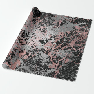 Gray Molten Silver Blush Pink Marble Shiny Urban Wrapping Paper