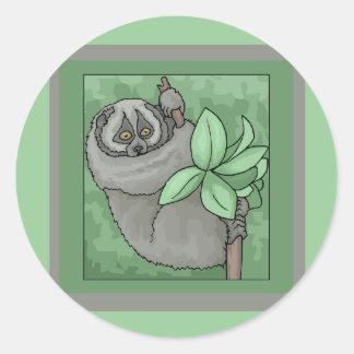 Gray Monkey Round Stickers