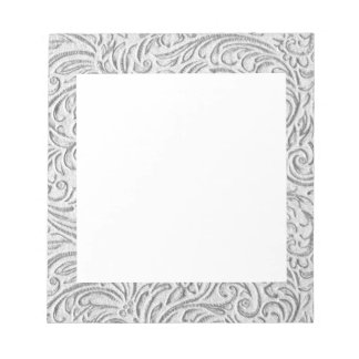 Gray Monochrome Vintage Floral Scrollwork Graphic Notepad