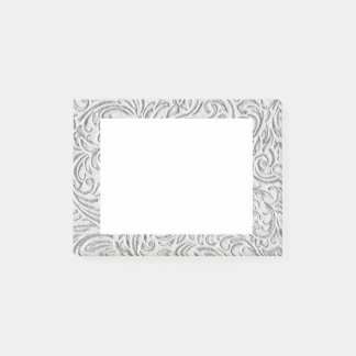 Gray Monochrome Vintage Floral Scrollwork Graphic Post-it Notes