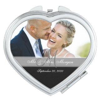 Gray Monogram Photo Wedding Keepsake Compact Mirror