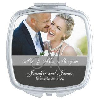 Gray Monogram Photo Wedding Keepsake Compact Mirrors