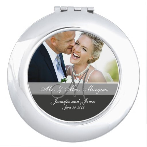 Gray Monogram Photo Wedding Keepsake Travel Mirrors