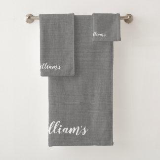 Gray Monogrammed Towel Set