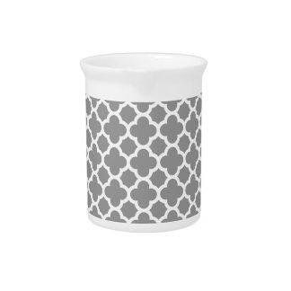 Gray Morrocan quatrefoil pattern Pitcher