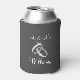Gray Mr and Mrs can coolers with wedding rings